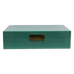 Shagreen Large lacquer box, L28 x W20cm, green