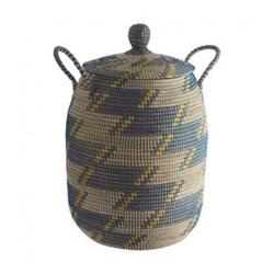 Adder Laundry basket with lid, D41 x H68cm, blue