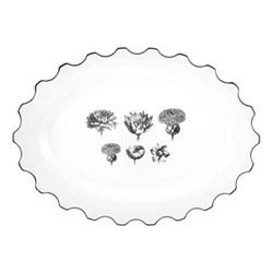 Herbariae Large oval platter, 41 x 30cm, white