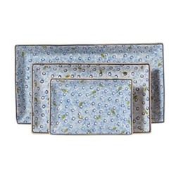Lawn Nest of 3 rectangular serving dishes, Largest - L31.5 x W17cm, light blue