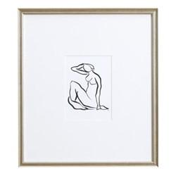 Sketch - Seated II Wall Art, H45 xW40cm, black cedar wood