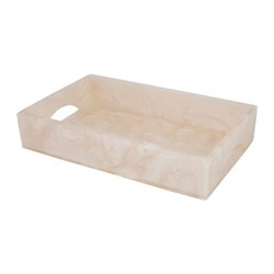 Marbled Resin Tray, H4.5 x W24.5 x D15.5cm, ivory