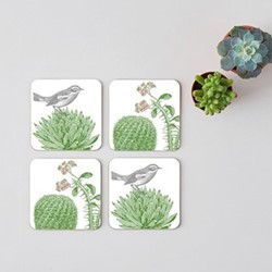 Cactus & Bird Set of 4 coasters, 10 x 10cm