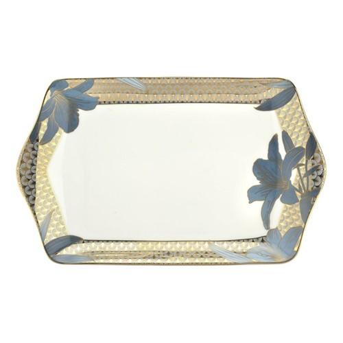 Blue Lily Dessert tray, Dia30.5cm, 22 carat gold / blue
