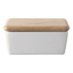 Dine Butter dish with oak lid, white