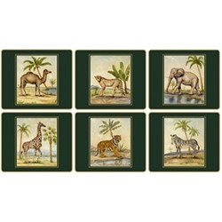 Traditional Range - African Animals Set of 6 tablemats with frame line, 24 x 20cm, bottle green