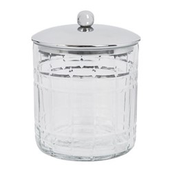 Cut Glass Storage pot, D10 x H12.5cm, clear