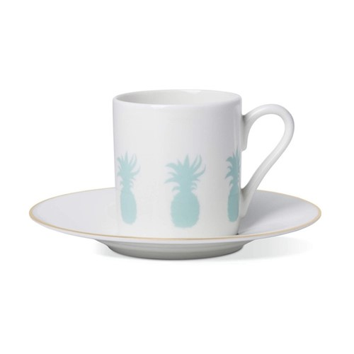 Pineapple Espresso cup and saucer, gold rim