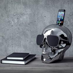 AeroSkull HD+ Bluetooth speaker with docking station, H35 x W35 x D35cm, chrome silver