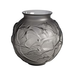 Hirondelles Vase, H21.5 x D21.5cm, grey/satin finish