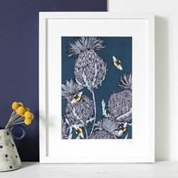 Indigo Trio Thistles With Bees Mounted print, 32.5 x 43cm, white frame