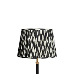 Straight Empire Ikat printed lampshade, 30cm, black zig-zag linen