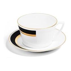 Arc Teacup, H6cm - 250ml, matte black/burnished gold