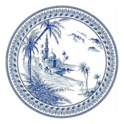 Les Dépareillées Bleu Orient Dessert plate, Dia22cm, white/blue