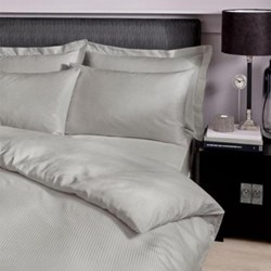 Satin Stripe King size duvet cover, L220 x W230cm, grey