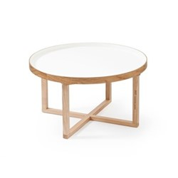 Coffee table, H38 x W66 x D66cm, white/oak