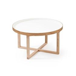 Coffee table, H38 x W66 x D66cm, white/oak