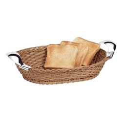 Bread basket, L34 x W24cm, light brown and sterling silver