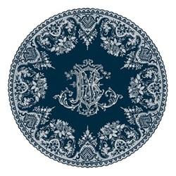 Les Dépareillées Bleu Monogramme Coaster, Dia13cm, white/blue