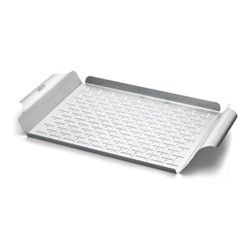 Rectangular grill pan, stainless steel