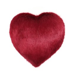 Boudoir Medium heart shaped faux fur cushion, L27 x H29cm, crimson