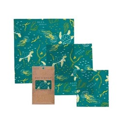 Ocean Print Pack of 3 food wraps, small/med/large