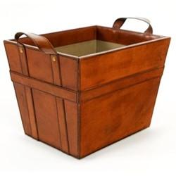 2 handled magazine basket, H38 x W29 x D27cm, tan leather