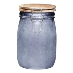 Industrial Kitchen Storage jar, 11 x 17cm, acacia glass
