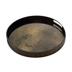Heavy Aged Small round mirror tray, D48 x 4cm, bronze