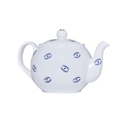 Eye Teapot, 1.1 litre, white and blue