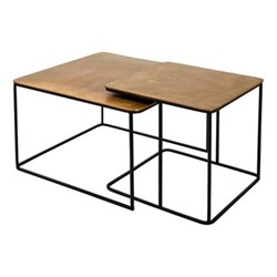 Denver Pair of coffee tables, H41 x W62 x D62cm, aluminium and iron