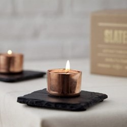 Candle holders, 10cm, copper & slate