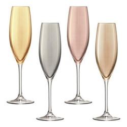 Polka Set of 4 Champagne flute, 225ml, assorted metallics