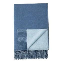 Plain Reversible Cashmere throw, 190 x 140cm, denim / pale blue