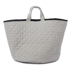 Harbour Stripe Storage basket, 70 x 40cm, black