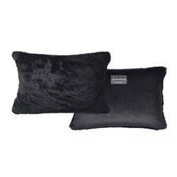Sheepskin bolster cushion, L43 x W33cm, black