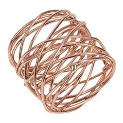 Set of 4 woven napkin rings, D4cm, copper