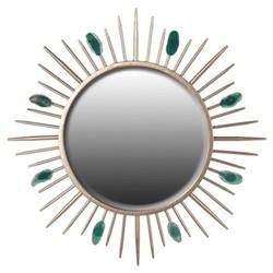 Sunburst Round mirror, Dia76cm, gold/green