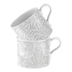 Pure Morris - Strawberry Thief & Willow Bough Pair of mugs, 34cl, grey/white