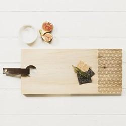 Geo Print Rectangular serving board with leather tab, L45 x W20 x H2cm, oak