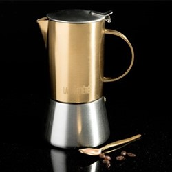 Edited 4 cup stovetop coffee maker, H25.5 x W12.5 x L18cm - 200ml, brushed gold