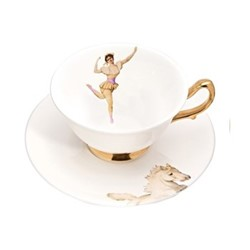 The Show Must Go On - Amazing Miss Rose Teacup and saucer, H6 x Dia10cm