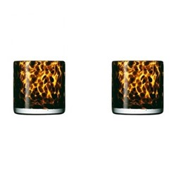 Tortoiseshell Pair of candle holders, D8 x H8cm