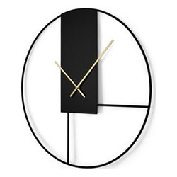 Outline Wall clock, Dia60cm, matt black & brushed brass