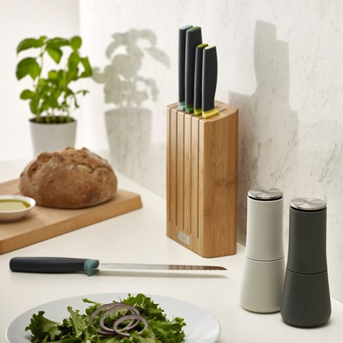 Elevate 5 piece knife set with bamboo block, H6 x W35.5 x D15cm, opal