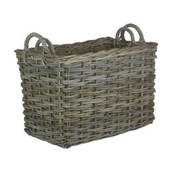 Grey Rattan Pair of rectangular log baskets, L64 x W41 x H45cm, grey rattan