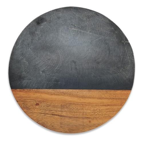 Fala Round chopping board, Dia30cm, slate & acacia