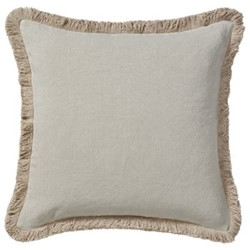 Cushion cover with fringing, L51 x W51cm, natural stonewashed linen