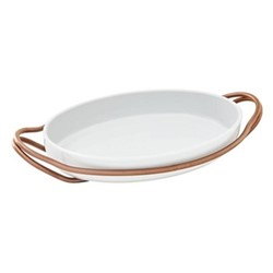 New Living Oval porcelain dish & holder, L39 x W27cm, copper