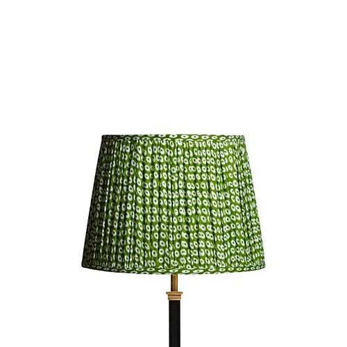 Straight Empire Block printed lampshade, 35cm, green cotton